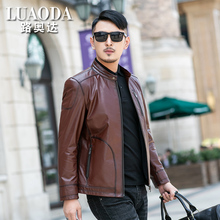 Fall and Winter 2019 Men's Calf Skin Jacket Jacket with Rigid Territory Haining Leather Clothing Thin Motorcycle Apparel