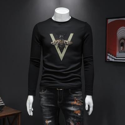 2019秋冬新款加绒男士刺绣蜜蜂长袖T恤 男士打底衫6106 P90