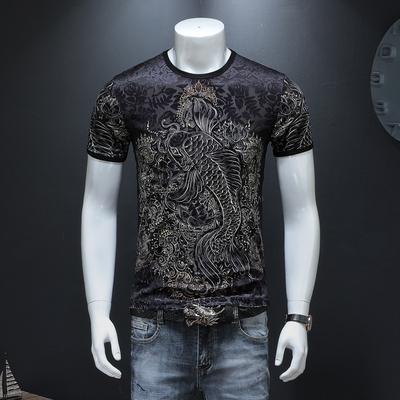 2019夏季新款中国风鲤鱼图案烧花男士短袖T恤9857-P65