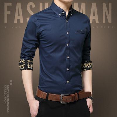 秋季新款纯棉韩版大码商务长袖衬衫 深蓝 A161-2-C1730常规款-P38