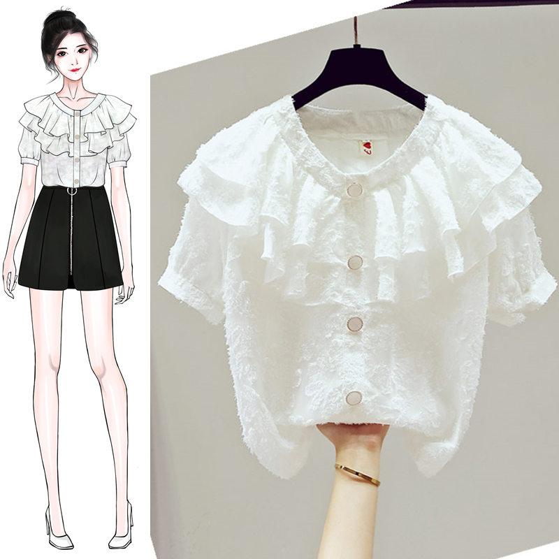 夏装秋2020年新款雪纺白衬衫长袖女装仙气蕾丝打底衫衬衣长袖上衣