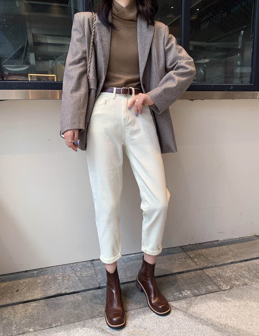 Matted white jeans 9-point single dad pants winter 2020 high waisted casual Harem Pants composite velvet