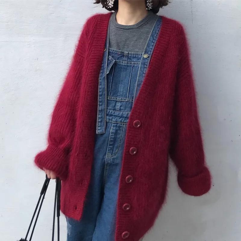 19新型のロングミンクのブラウスのゆるいカーディガンの怠惰なセーターの上着の中の長いタイプのコートは高くて円が同じです。