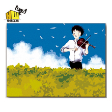 The sound of music diy characters scenery digital painting since his paintings to pull the boy to play the violin 50 * 65 cm