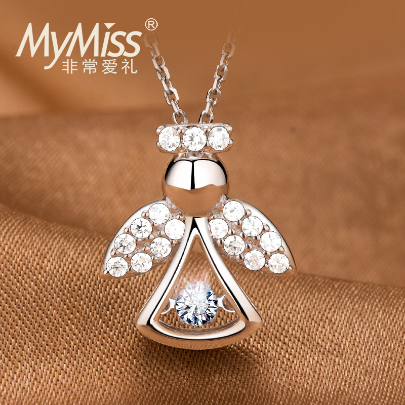 Silver plated platinum necklace female beating heart chain inlaid with Swarovski zircon Angel headdress gift