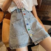 夏季新款大码胖mm牛仔短裙女装韩版高腰小清新学生显瘦A字半身裙