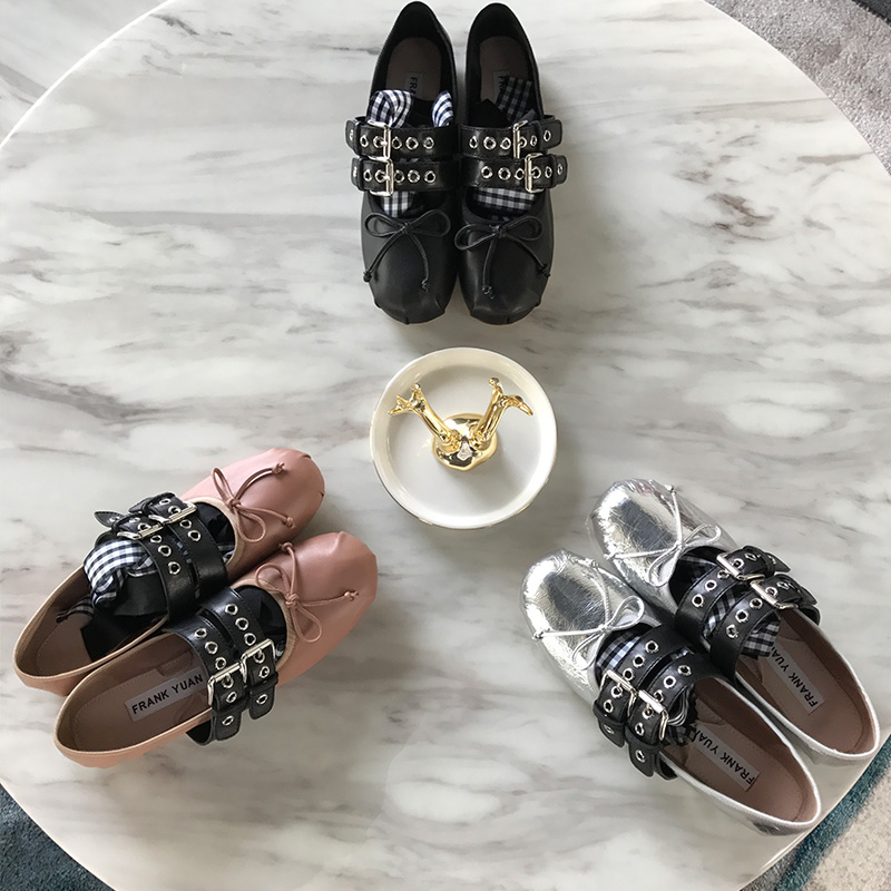Miu handmade ballet shoes bandage retro sweet Miu womens shoes round head flat sole shoes new spring and summer
