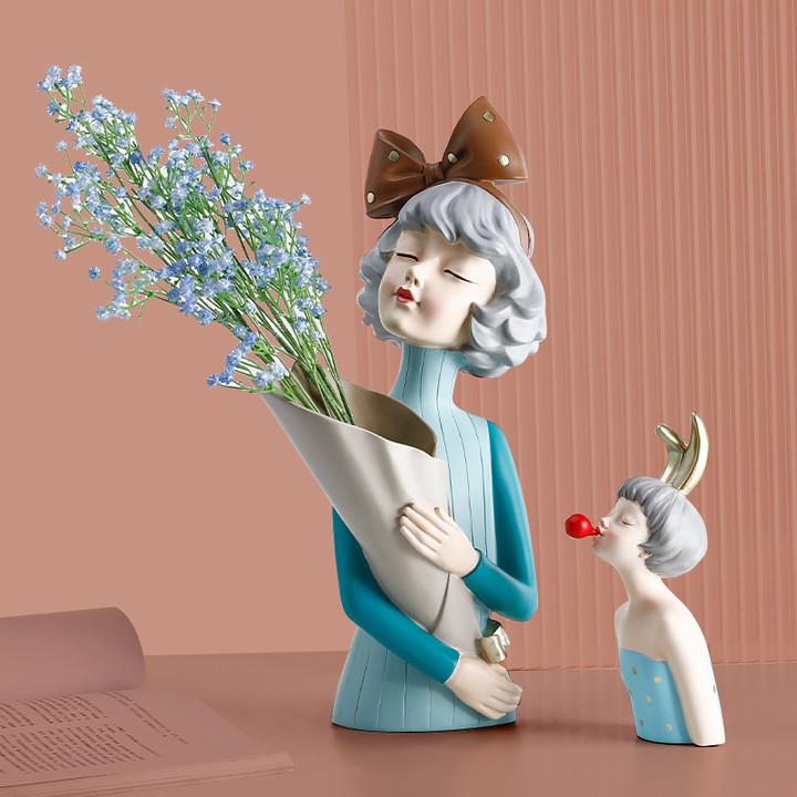 ins风北欧轻奢创意简约花瓶摆件客厅插花干花装饰电视柜家居饰品
