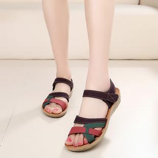 特价妈妈鞋凉鞋中年女夏平底中老年女鞋软底防滑休闲平跟老人皮鞋