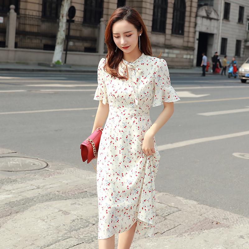 雪纺的连衣裙韩范学生小个子2020夏季中长款气质显瘦过膝长裙女仙图片