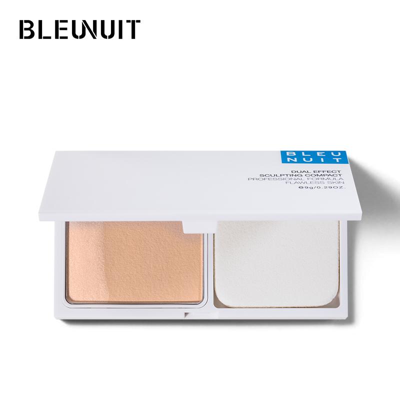 BLEUNUIT/深蓝彩妆双效修颜水粉饼双色控油定妆遮瑕持久专柜正品