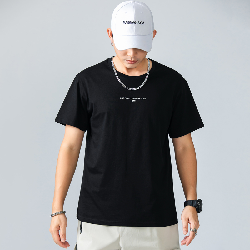 Cotton short sleeve t-shirt mens fashion brand personality fashion ins tooling Hong Kong fashion mens loose boys T-shirt man