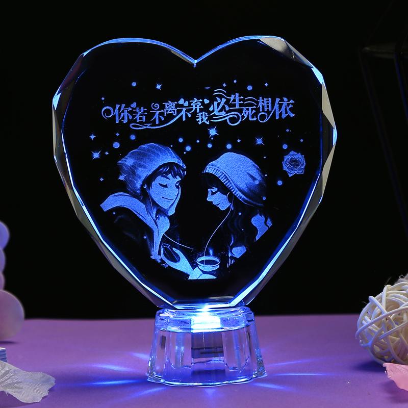 创意水晶发光桌面摆件卧室生日礼物券后19.80元