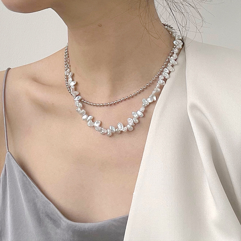 925 Silver Necklace baroque style petal pearl silver bead culture connected with double-layer fashion simple jewelry minority jewelry