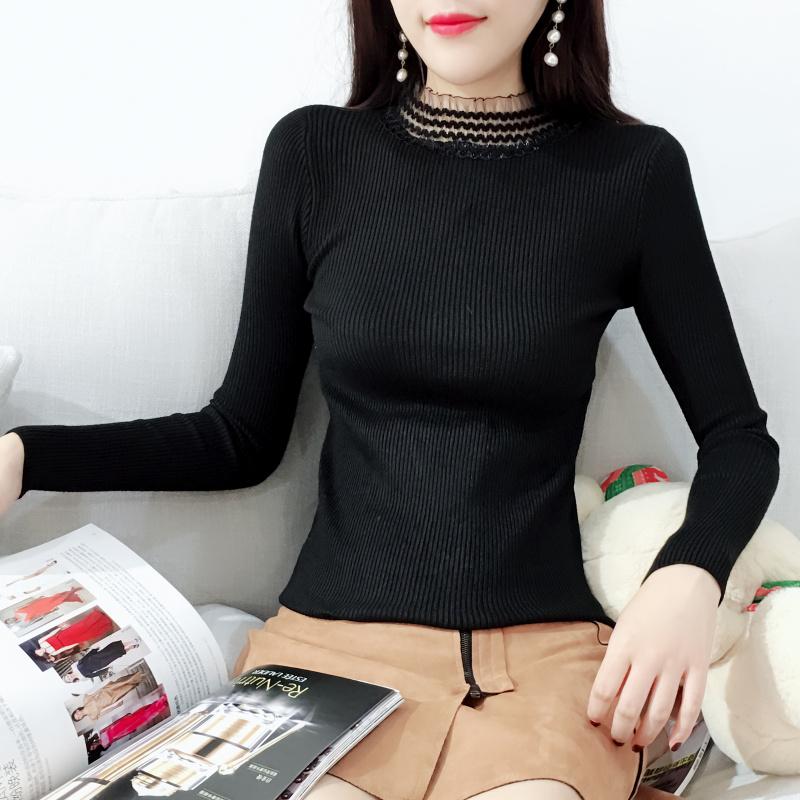 秋冬新款女装蕾丝拼接半高领毛衣女薄款套头修身长袖针织衫打底衫