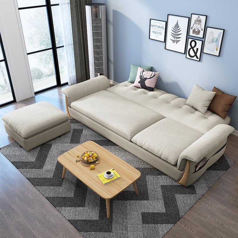 三人位小户型布艺沙发北欧简约现代客厅可折叠多功能两用沙发床