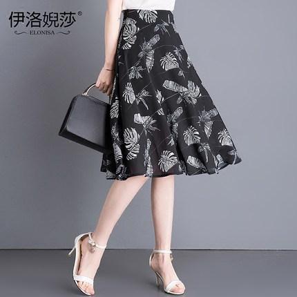 夏2019新款中长款雪纺韩版女半身裙