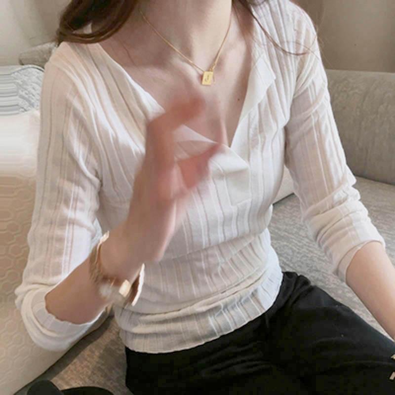薄款羊绒衫半开领坑条短款打底衫