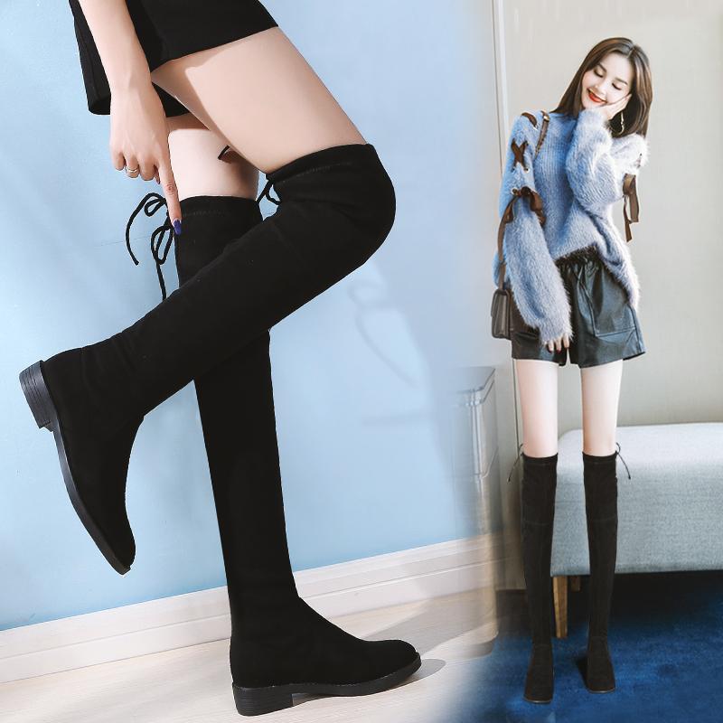长筒靴女过膝长靴平底2019新款秋款靴子女网红秋冬弹力瘦瘦高筒靴