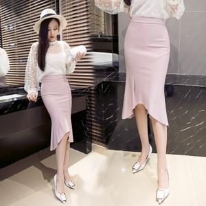 实拍6755新款中长款包臀裙不对称拼接鱼尾裙半身裙OL职业裙...
