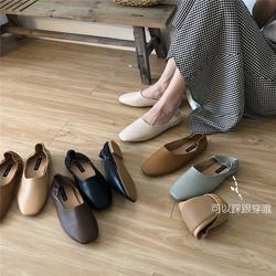 奶奶鞋2020春秋平底方头乐福鞋两穿一脚蹬懒人搭豆豆鞋浅口单鞋女