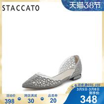 思加图2019春季新款休闲低跟平跟水钻中空凉鞋女单鞋子Y1101AK9