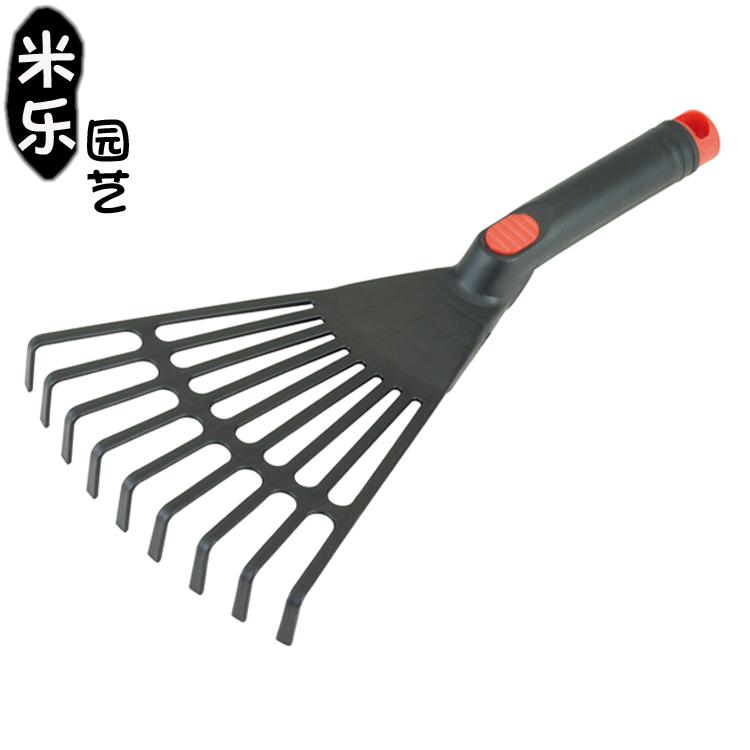 Plastic nine teeth raking grass big rake flat steel raking litter sundries gardening tools agricultural waste raking lawn