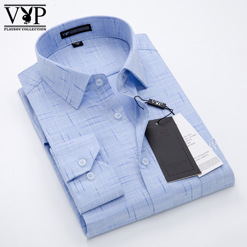 Dads new business dress no iron solid color casual large young and middle-aged Lapel long sleeve anti wrinkle shirt mens thin style