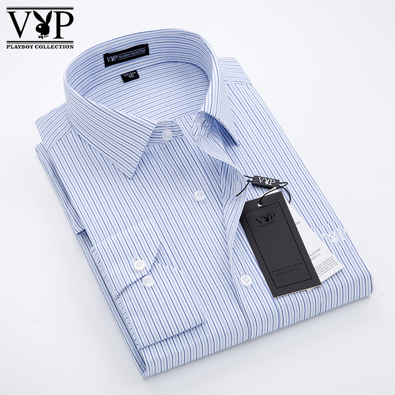 Playboy new long sleeve business shirt no iron slim fit mens professional dress shirt work clothes comfortable and breathable