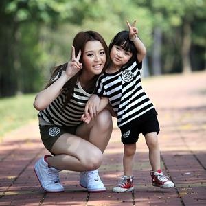 母子装母女装夏季一家三口亲子装夏装款全家装短袖T恤套装qzz