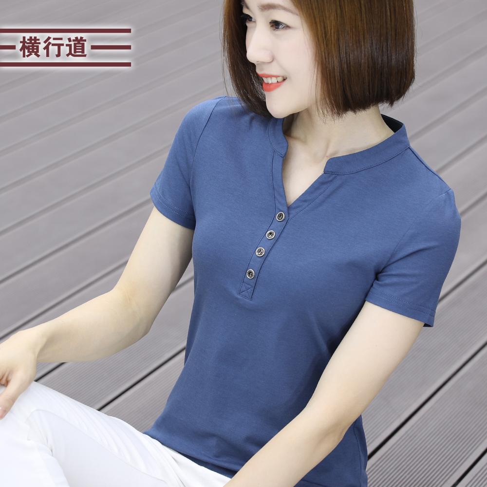 莫代尔棉立领t恤女短袖v领打底衫69.00元包邮