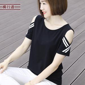 2021夏装新款黑色短袖圆领宽松t恤