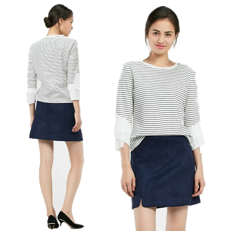 Womens 2021 spring and summer new casual versatile cotton split skirt spring new solid color skirt
