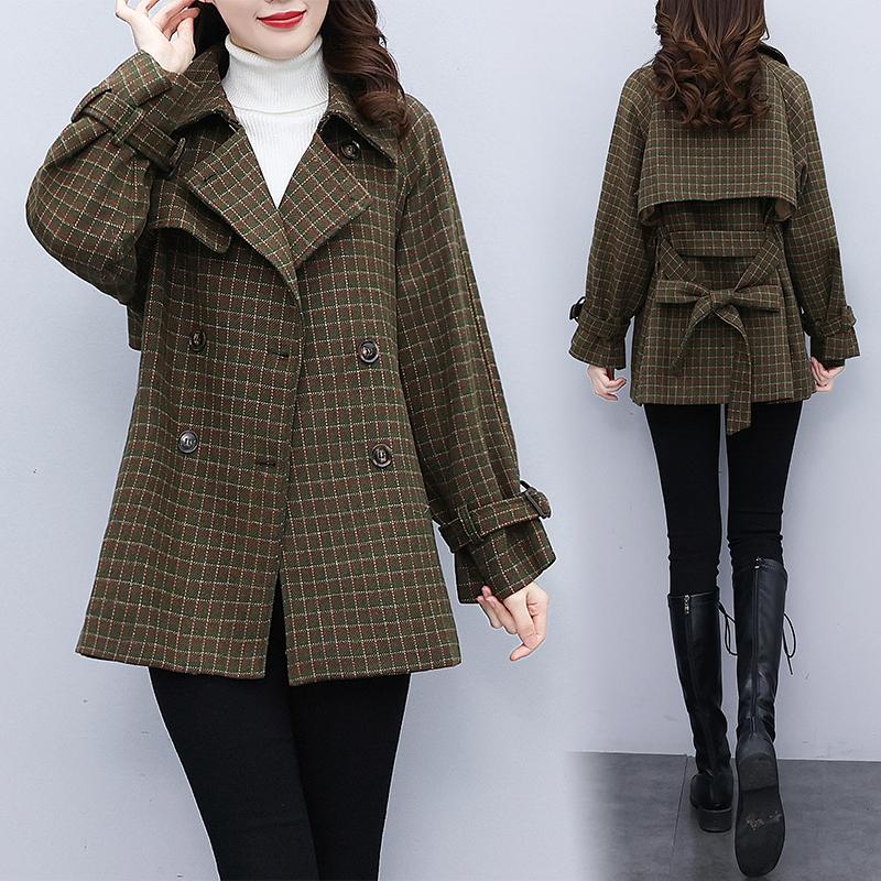 秋冬毛呢外套女新款2021格紋雙排扣呢子大衣氣質減齡寬松短款上衣