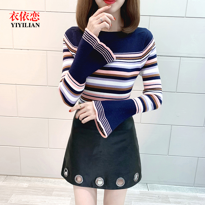 Spring 2020 straight neck Long Sleeve Striped flared Sleeve T-Shirt Top for womens slim fit and contrast color bottoming sweater