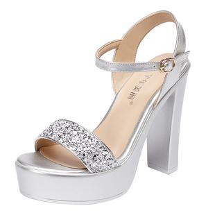 銀色走秀涼鞋女2020夏季新款厚底防水台露趾一字帶超高跟13cm涼鞋
