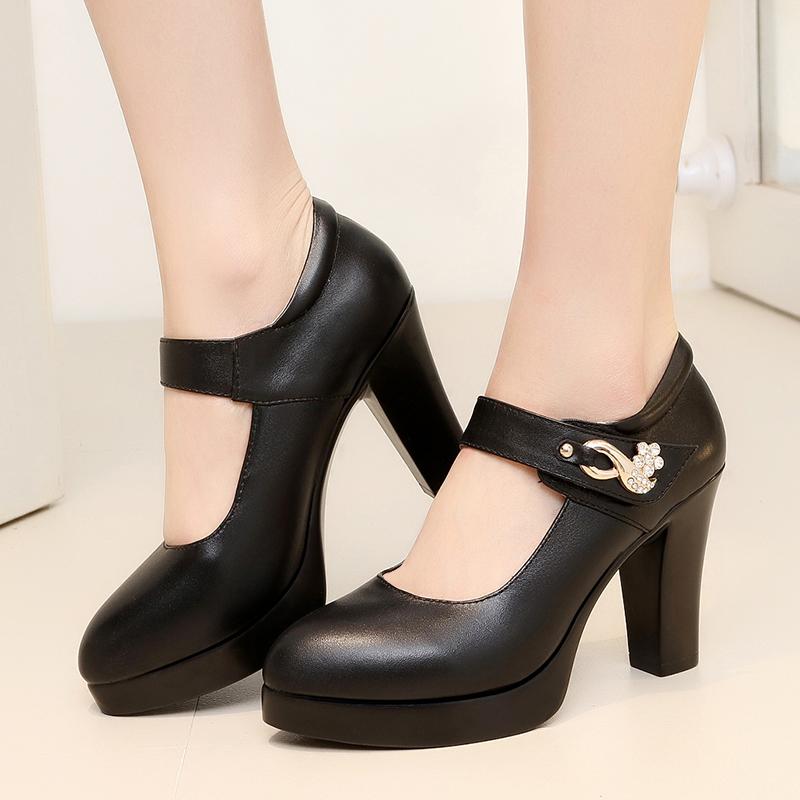黑色粗跟大码模特旗袍秀防水台演出单鞋一字扣t台走秀高跟鞋女鞋