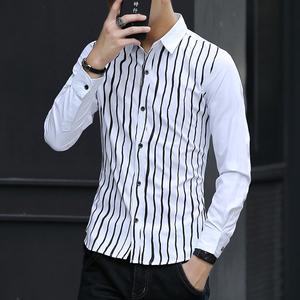 春夏韩版衬衫男士长袖衬衣潮男薄款男装白寸衫青少年修身衣服02...