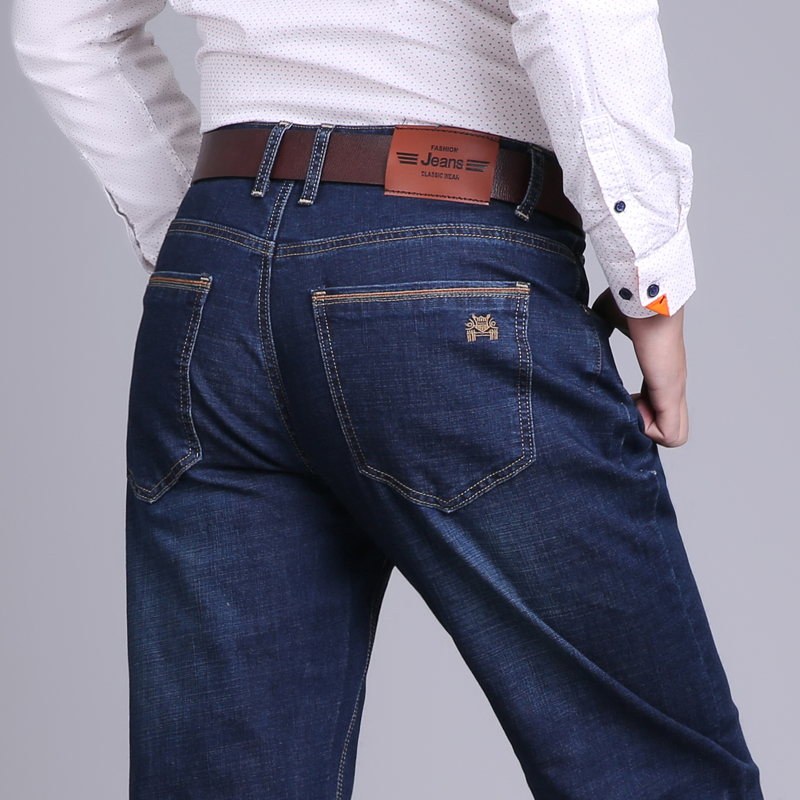 Add weight jeans mens autumn and winter new loose straight tube business stretch fat man large size 42 size 48