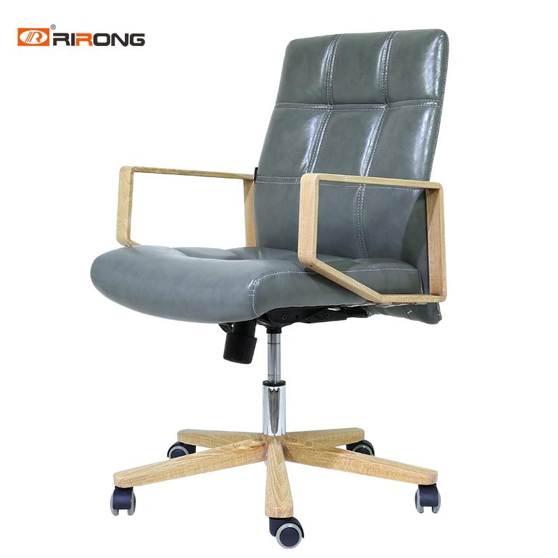 佛山日荣时尚办公电脑椅牛皮老板椅职员椅休闲家用升降转椅定制