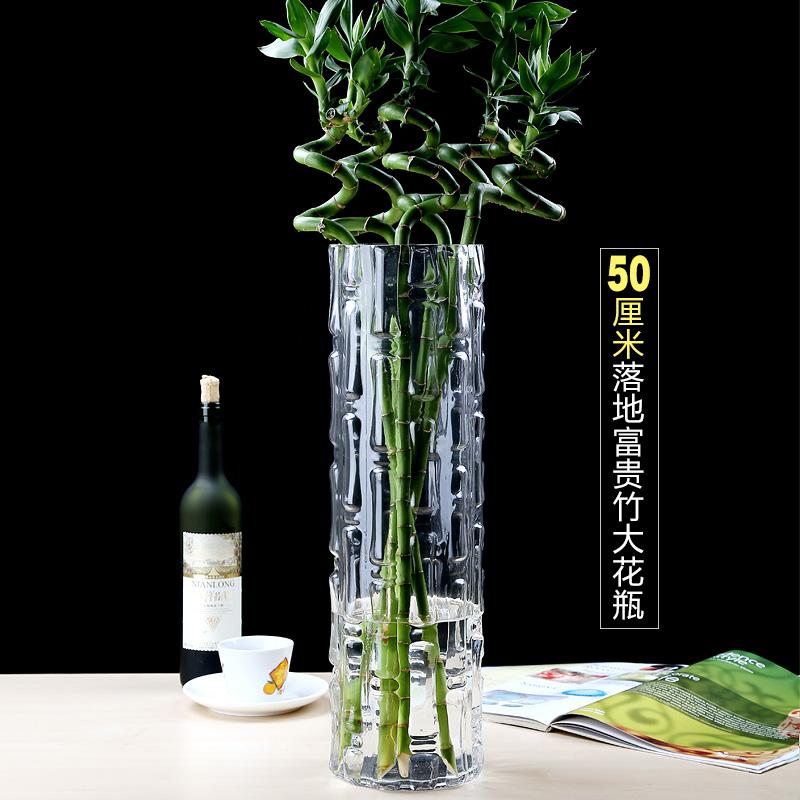 插花特大号落地50CM高40cm大号客厅玻璃花瓶摆件转运竹富贵竹透明