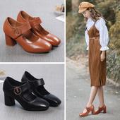 复古方头一字扣高跟鞋 女2019新款 粗跟单鞋 玛丽珍鞋 浅口真皮女鞋