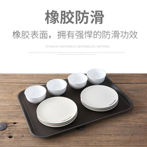 Double Sword anti-skid tray fast food restaurant plastic rectangular meal Plate cup silicone tray household hotel Supplies Plate