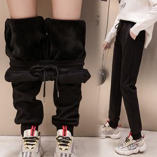 大码加绒运动裤女200斤加肥加大宽松休闲女裤?#20248;謒m春装2019新款