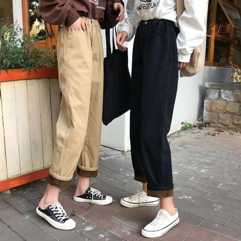 秋冬季裤子女韩版宽松bf复古百搭学生松紧加绒工装裤直筒牛仔裤潮