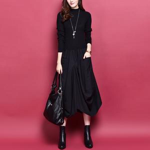 拼接假两件连衣裙2019秋冬新款韩版女装修身显瘦长袖羊毛打底裙子