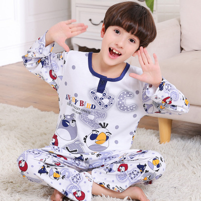 Childrens pajamas pure cotton spring and autumn boys long sleeve cotton air conditioning home clothes boys and childrens summer middle and large childrens sets are thin