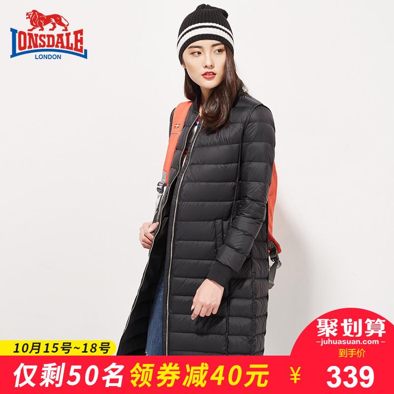 龙狮戴尔新款羽绒服女长款修身外套韩版过膝轻薄保暖羽绒衣