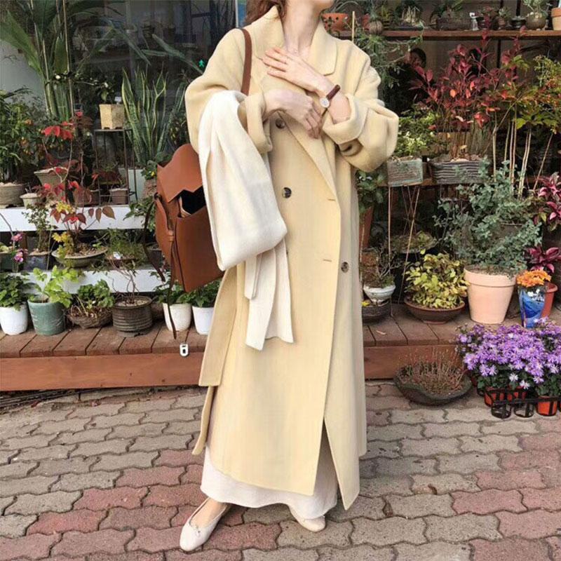 反季韩国高端双排扣双面羊绒大衣女中长款2019秋冬新款毛呢外套
