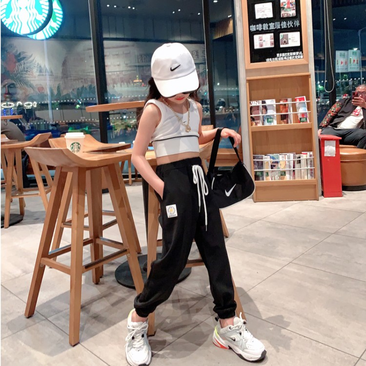 Famla Daisy pants 140cm 5-year-old real photo with model belt 10-year-old 130cm middle waist routine